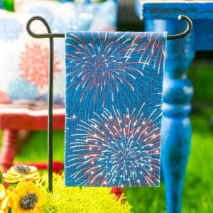 4th of July Fireworks Garden Flag