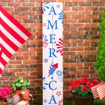 Dollhouse Miniature Farmhouse America Porch Sign - 4th of July Vertical Sign - 1:12 Dollhouse Miniature Porch Sign