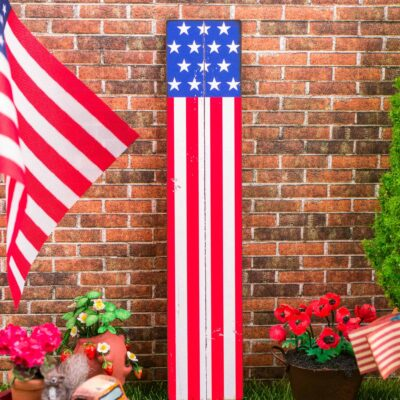 Dollhouse Miniature Farmhouse American Flag Porch Sign - 4th of July Vertical Sign - 1:12 Dollhouse Miniature Porch Sign