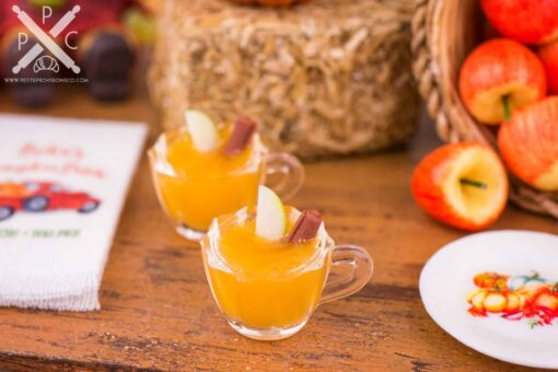 Dollhouse Miniature Spiced Apple Cider for Two with Cinnamon Sticks and Apple Slices - 1:12 Dollhouse Miniature - Fall Miniatures