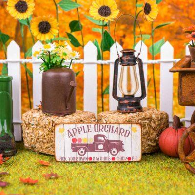 Dollhouse Miniature Apple Orchard Sign - Decorative Autumn Sign - 1:12 Dollhouse Miniature Decor