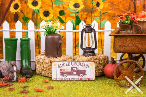 Dollhouse Miniature Apple Orchard Sign - Decorative Autumn Sign - 1:12 Dollhouse Miniature Decor