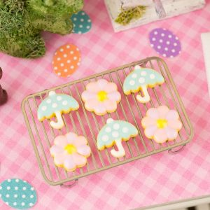April Showers Bring May Flowers Cookies – Half Dozen – 1:12 Dollhouse Miniature