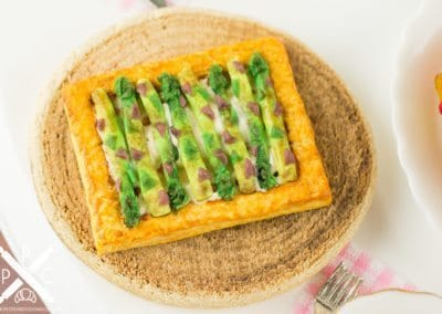 Rustic Asparagus Tart on Wooden Slab