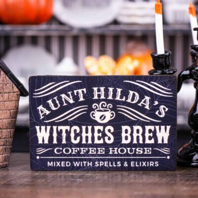 Dollhouse Miniature Aunt Hilda's Witches Brew Coffee House Sign - 1:12 Dollhouse Miniature Halloween Sign - Halloween Miniatures