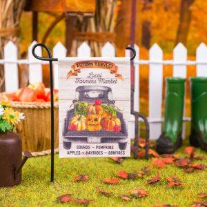 Autumn Harvest Local Farmers Market Garden Flag