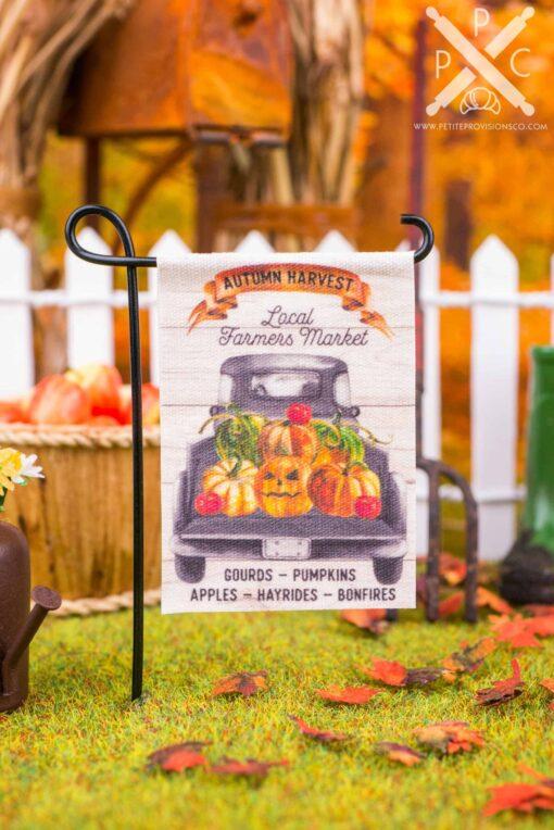 Dollhouse Miniature Autumn Harvest Local Farmers Market Garden Flag - 1:12 Dollhouse Miniature Garden Flag