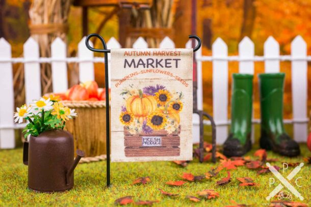 Dollhouse Miniature Autumn Harvest Market Garden Flag - 1:12 Dollhouse Miniature Garden Flag