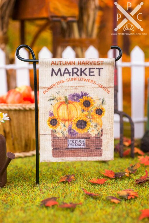Dollhouse Miniature Autumn Harvest Market Garden Flag - 1:12 Dollhouse Miniature Garden Flag