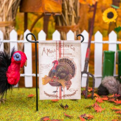 Made to Order Dollhouse Miniature Autumn Turkey Thanksgiving Garden Flag - 1:12 Dollhouse Miniature Garden Flag