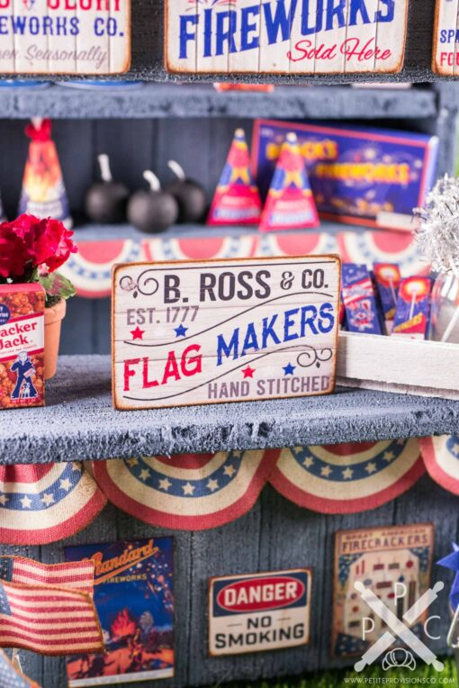 Dollhouse Miniature B. Ross & Co. Flag Makers 4th of July Sign - 1:12 Dollhouse Miniature Sign