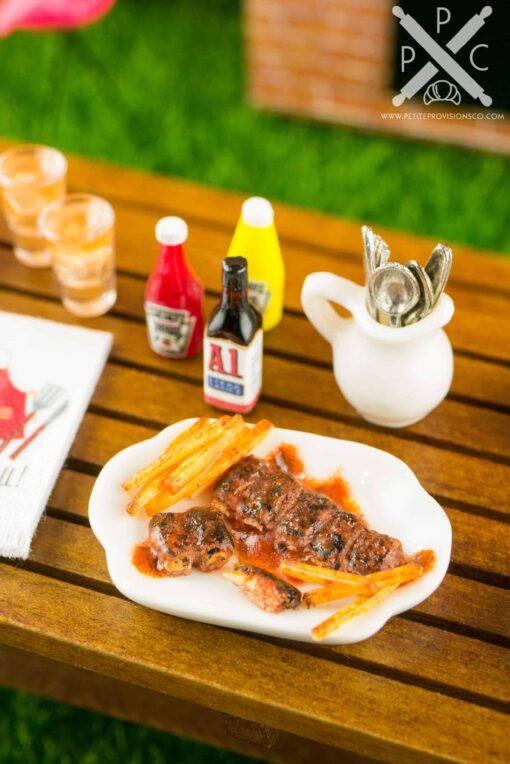 Dollhouse Miniature BBQ Baby Back Ribs and French Fries - 1:12 Dollhouse Miniature Barbecue