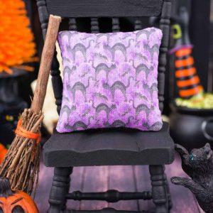 Bats and Cats Halloween Pillow