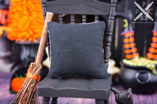 Dollhouse Miniature Bats and Cats Halloween Pillow - 1:12 Dollhouse Miniature Halloween Throw Pillow