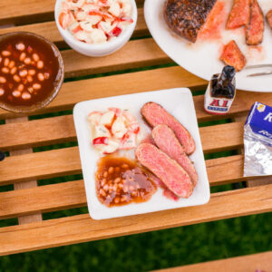 BBQ Dinner Plate – Grilled London Broil, Potato Salad and Baked Beans