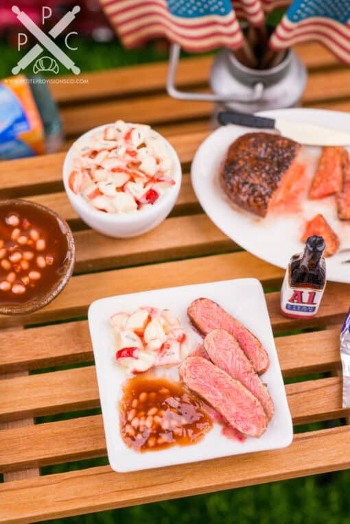 Dollhouse Miniature BBQ Dinner Plate - Grilled London Broil, Potato Salad and Baked Beans - 1:12 Dollhouse Miniature Cookout