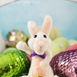 Bean the Needle Felted Bunny with Easter Basket