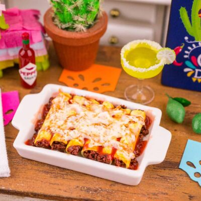Dollhouse Miniature Beef Enchiladas - Cinco de Mayo - 1:12 Dollhouse Miniature Mexican Food