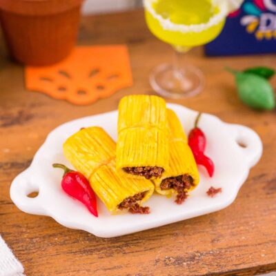Dollhouse Miniature Beef Tamales - Cinco de Mayo - 1:12 Dollhouse Miniature Mexican Food