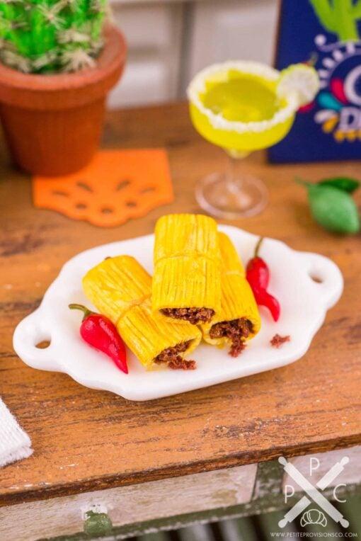 Dollhouse Miniature Beef Tamales - Cinco de Mayo - 1:12 Dollhouse Miniature Mexican Food