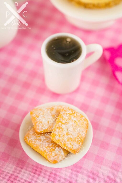 Dollhouse miniature beignets and black coffee