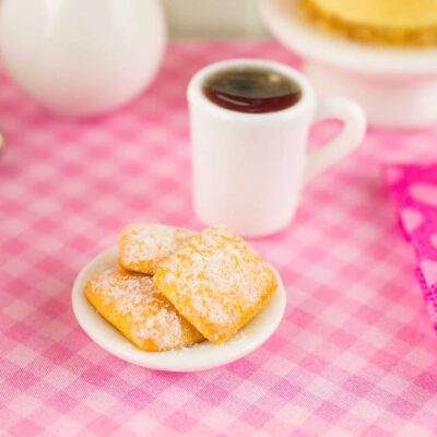 Dollhouse Miniature Beignets and Black Coffee