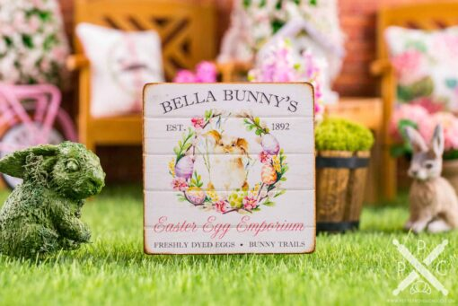 Dollhouse Miniature Bella Bunny's Easter Egg Emporium Sign - Decorative Easter Sign - 1:12 Dollhouse Miniature Easter Sign