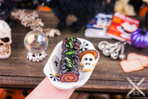 Dollhouse Miniature Bewitching Marbled Halloween Swiss Roll Cake - 1:12 Dollhouse Miniature Halloween Cake