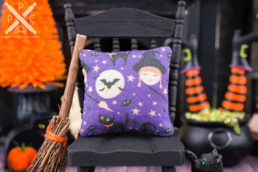 Dollhouse Miniature Bewitching Halloween Pillow - 1:12 Dollhouse Miniature Halloween Decoration