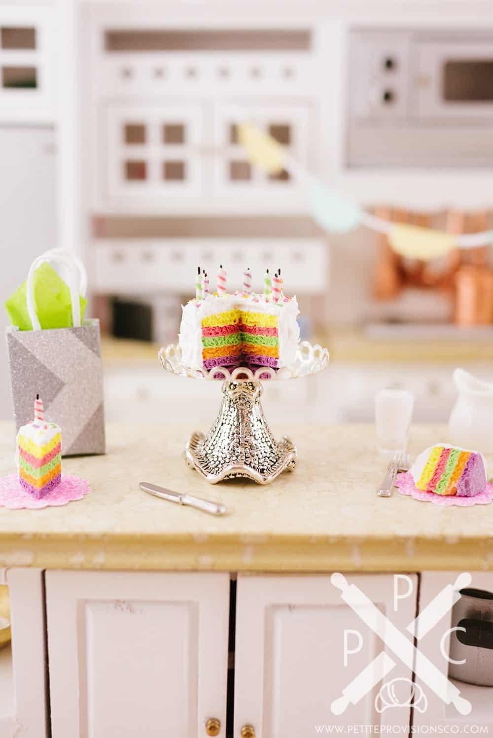 Handmade Miniature Polymer Clay Birthday Cake