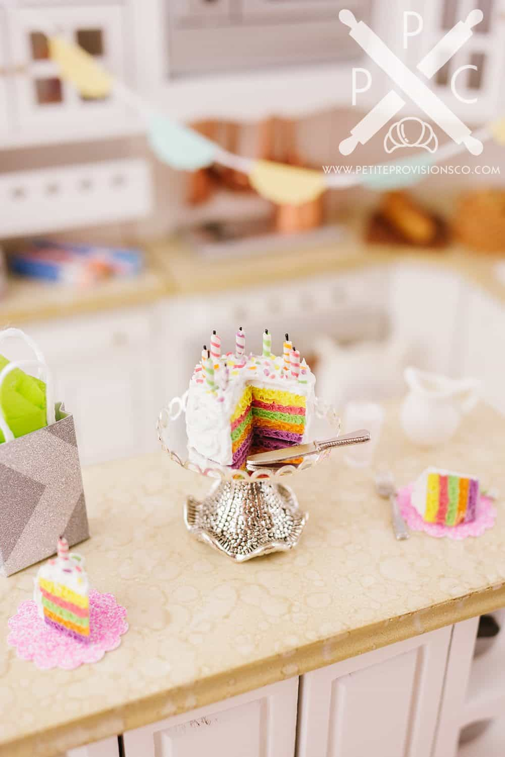 Handmade Miniature Polymer Clay Birthday Cake