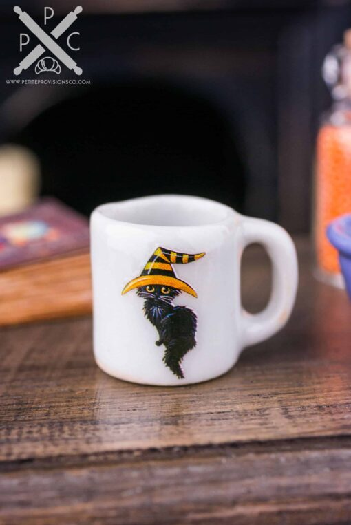 Dollhouse Miniature Black Cat Halloween Mug