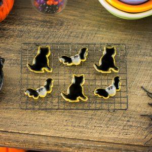 Black Cats and Bats Halloween Cookies – Half Dozen