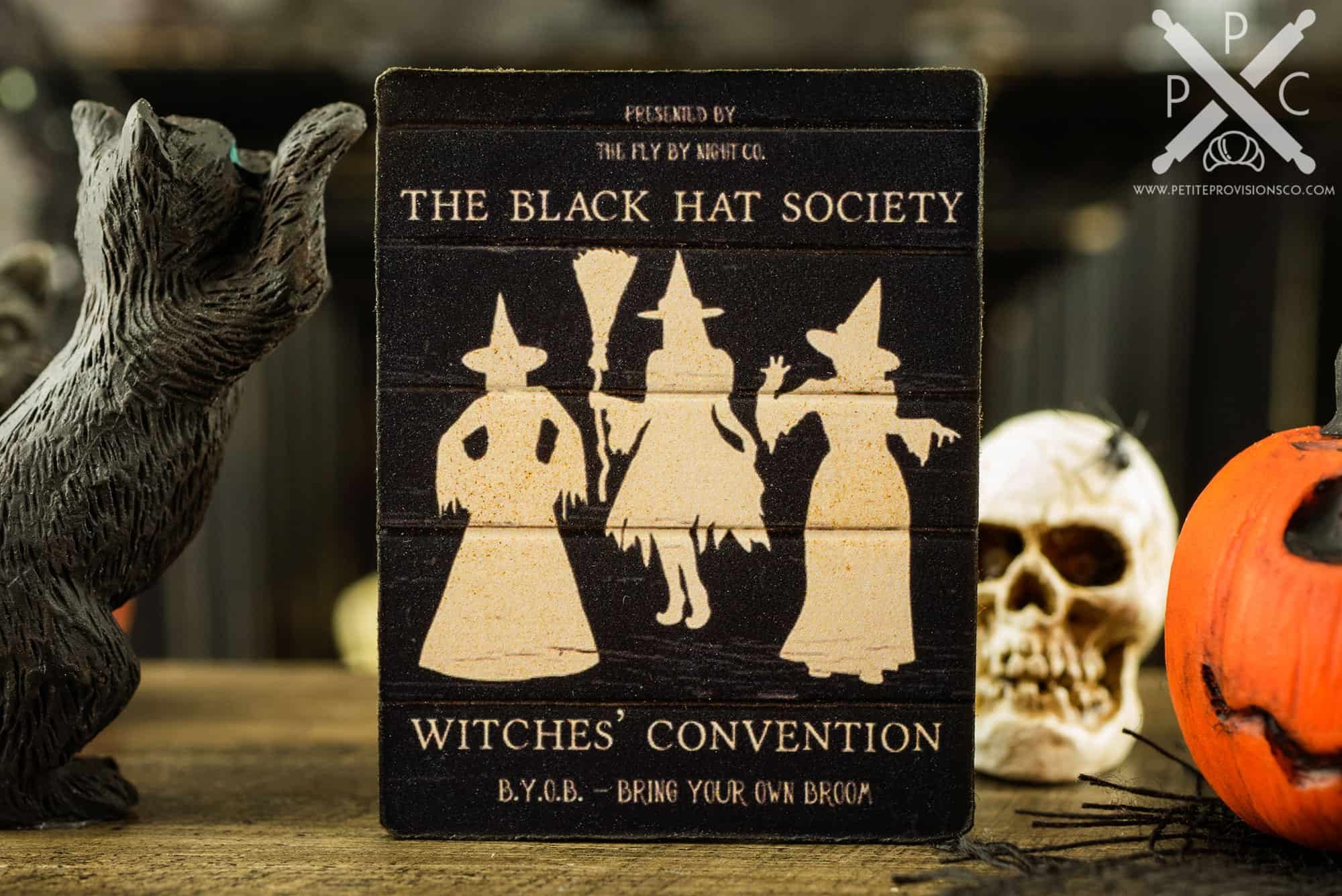 Dollhouse Miniature The Black Hat Society Witches  Convention Sign ... 588fc56795c0