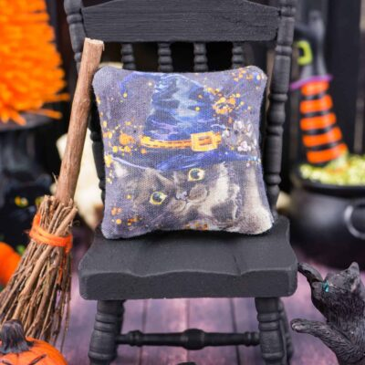 Dollhouse Miniature Witch Kitten Black Cat Halloween Pillow - 1:12 Dollhouse Miniature Halloween Throw Pillow