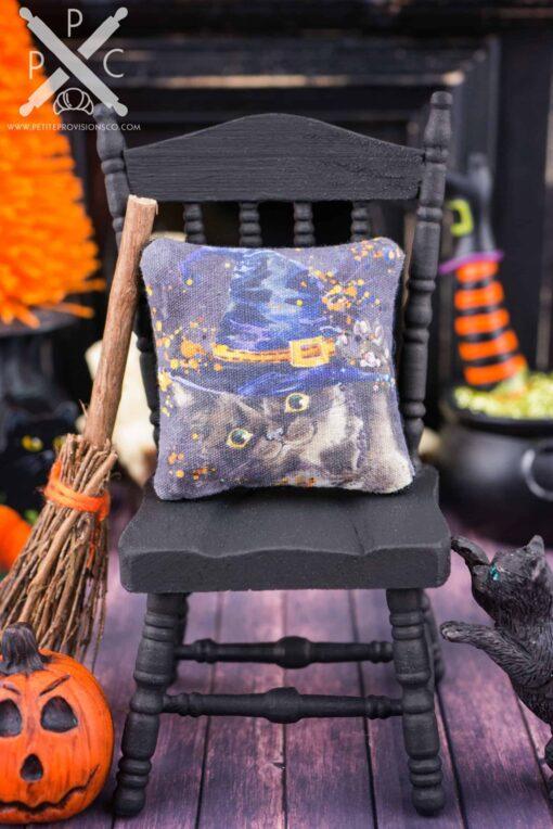 Dollhouse Miniature Witch Kitten Black Cat Halloween Pillow - 1:12 Dollhouse Miniature Halloween Throw Pillow