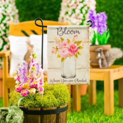 Dollhouse Miniature Bloom Where You Are Planted Spring Garden Flag