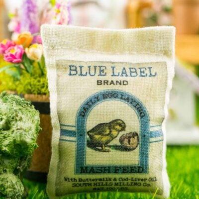 Dollhouse Miniature Blue Label Brand Feed Bag