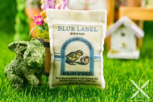 Dollhouse Miniature Blue Label Brand Feed Bag