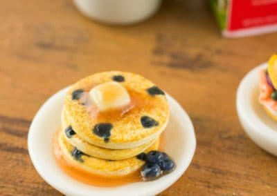 Blueberry Pancakes Stack with Syrup