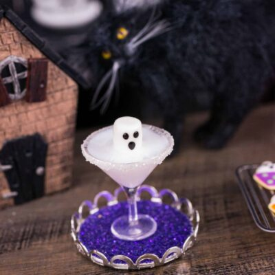 Dollhouse Miniature Boo-tini Ghost Halloween Martini on Tray - 1:12 Dollhouse Miniature Cocktail
