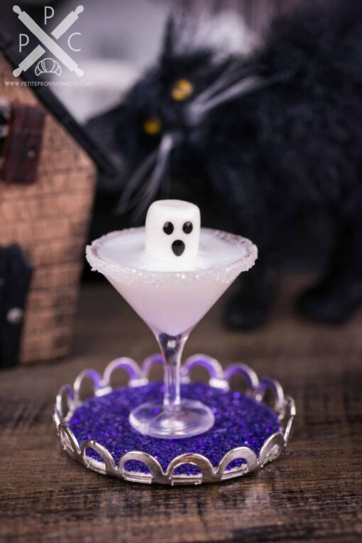 Dollhouse Miniature Boo-tini Ghost Halloween Martini on Tray - 1:12 Dollhouse Miniature Cocktail