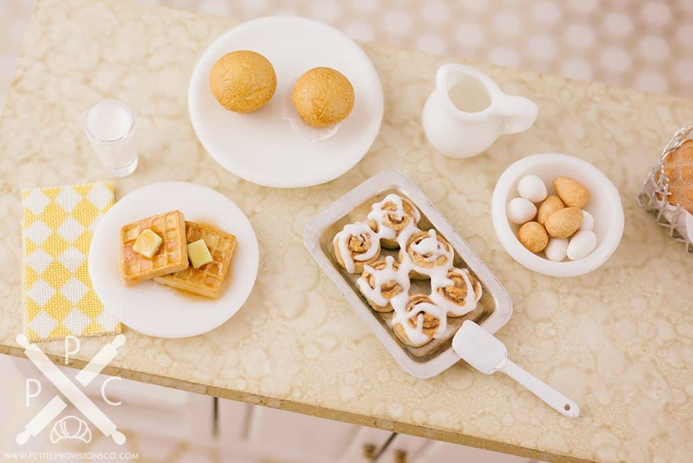 Handmade Miniatures - Handsculpted Polymer Clay Breakfast in Miniature