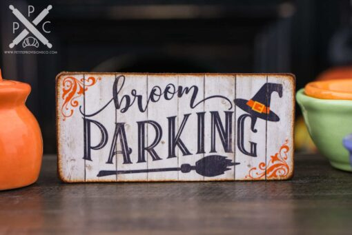 Dollhouse Miniature Broom Parking Sign - Decorative Halloween Sign - 1:12 Dollhouse Miniature Halloween Sign