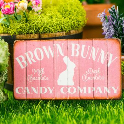 Dollhouse Miniature Brown Bunny Candy Company Sign