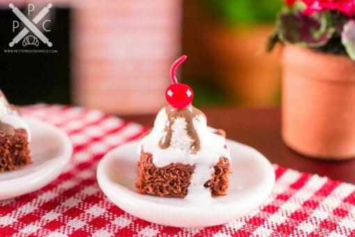 Dollhouse Miniature Hot Fudge Brownie Sundae - 1:12 Dollhouse Miniature Sundae