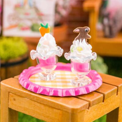 Dollhouse Miniature Chocolate Rabbit and Carrot Easter Puddings on Tray - 1:12 Dollhouse Miniature Easter Food - Easter Miniatures
