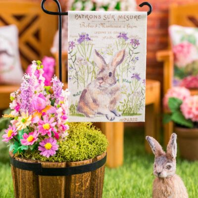 Dollhouse Miniature Bunny in Lavender Easter Garden Flag - 1:12 Dollhouse Miniature Garden Flag