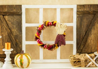 Burgundy Maize Autumn Wreath