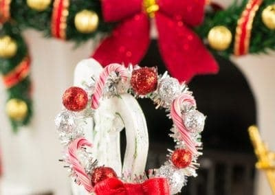 Silver Candy Cane Christmas Wreath